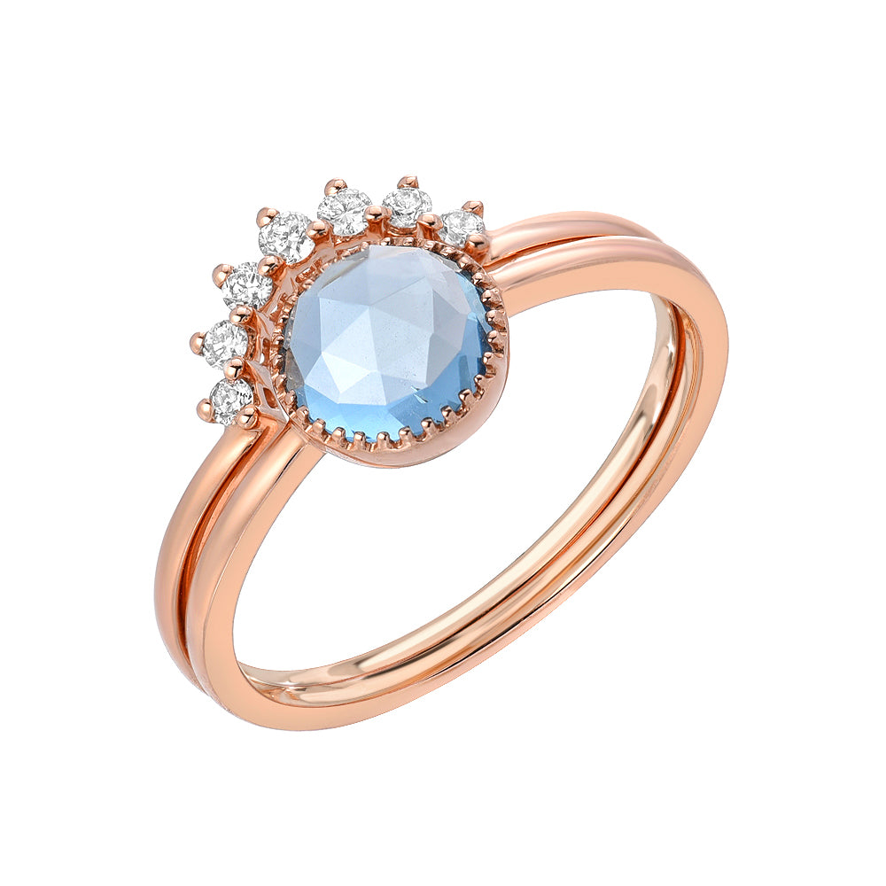 two ring set with London blue topaz in rose gold