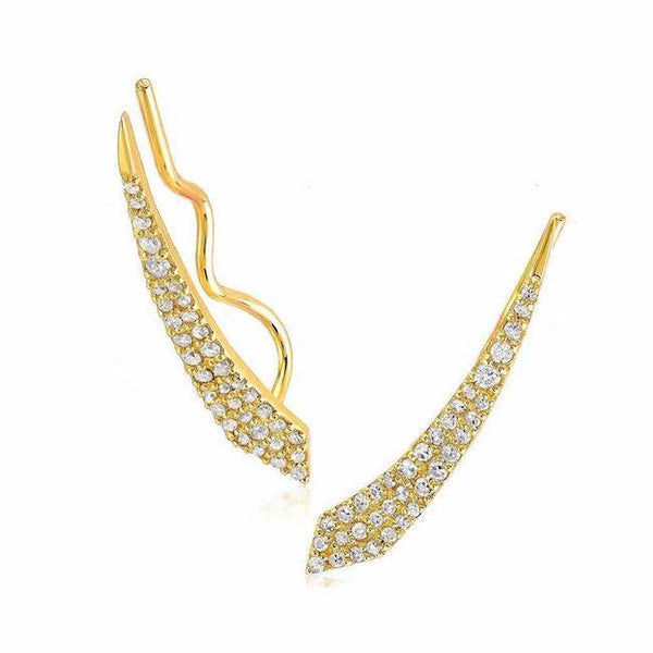 comet pave ear climbers in yellow gold