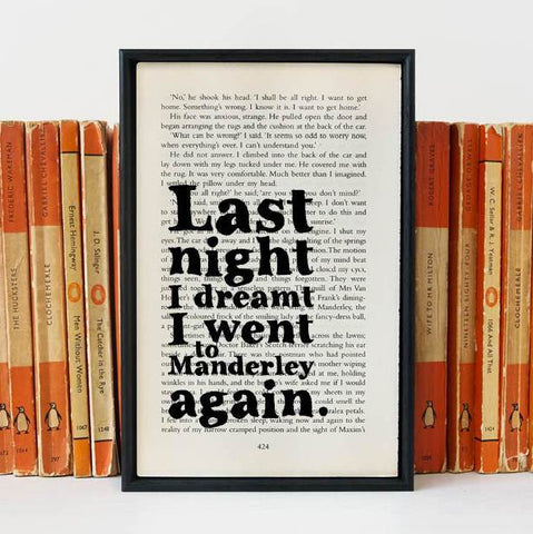 Book Print - Last Night I Dreamt I Went To Manderley Again - Du Maurier