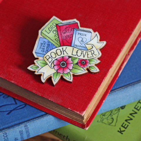 Brooch / Pin / Badge - Book Lover Tattoo - Wooden-Jewellery-Book Lover Gifts