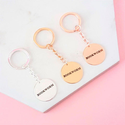 Keyring - Metal - Bookworm - Silver, Gold, Rose Gold-keyring-Book Lover Gifts