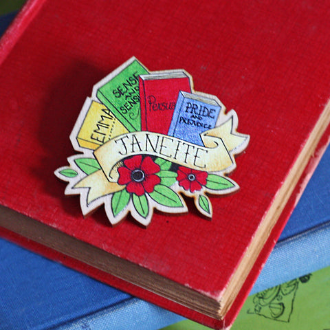 Brooch / Pin / Badge - Janeite - Jane Austen - Wooden-Jewellery-Book Lover Gifts