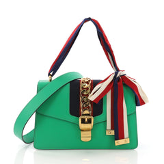 Gucci Sylvie Shoulder Bag Leather Small Green 378345