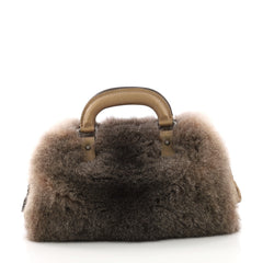 Chanel Boston Frame Bag Fur Medium Neutral 3859721