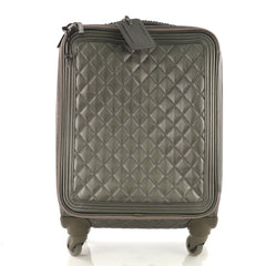 Chanel Coco Case Rolling Trolley Quilted Caviar Gray 396331