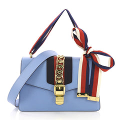 Gucci Sylvie Shoulder Bag Leather Small Blue