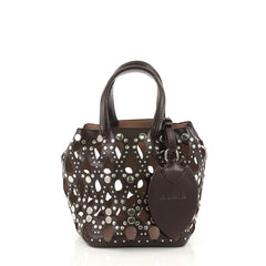 Alaia Model: Studded Bucket Bag Laser Cut Leather Mini Brown 40158/1