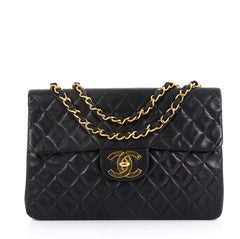 Chanel Classic Single Flap Bag Quilted Lambskin Maxi Black