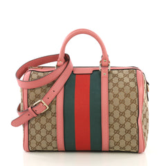 Gucci Vintage Web Boston Bag GG Canvas Medium Brown 404933