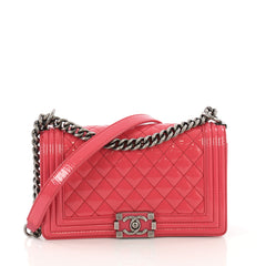 Chanel Boy Flap Bag Quilted Patent Old Medium Pink