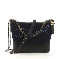 Chanel Gabrielle Hobo Embroidered Wool and Calfskin Medium Blue