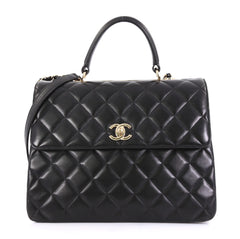 Chanel Trendy CC Top Handle Bag Quilted Lambskin Large Black 406311
