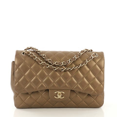 Chanel Classic Double Flap Bag Quilted Lambskin Jumbo Gold 407912