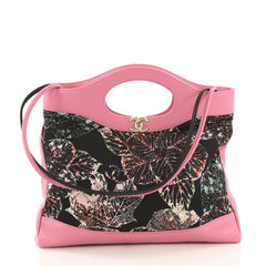Chanel Model: 31 Shopping Bag Quilted Printed Cotton and Calfskin Large  Black 40880/8