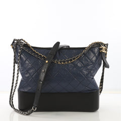 Chanel Gabrielle Hobo Quilted Aged Calfskin Large Blue 4090037