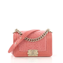 Chanel Boy Flap Bag Shearling with Leather Small Pink 4101093