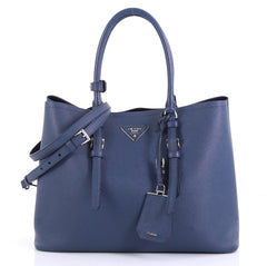 Prada Cuir Covered Strap Double Tote Saffiano Leather Medium 411671
