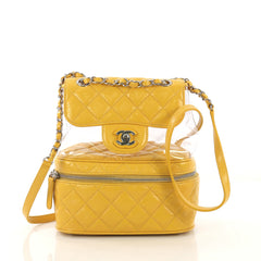 Chanel Zip Around Flap Backpack Quilted Crumpled Calfskin 4150715