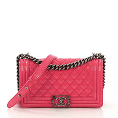 Chanel Boy Flap Bag Quilted Patent Old Medium Pink 4159311