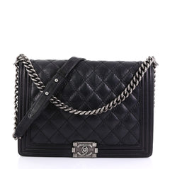 Chanel Double Stitch Boy Flap Bag Quilted Calfskin Large 416578