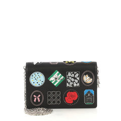 Christian Dior Wallet on Chain Patch Embellished Leather Black 416921...