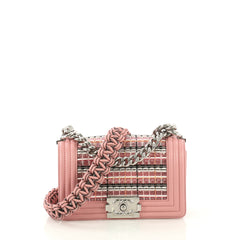 Chanel Boy Flap Bag Woven PVC with Lambskin Small Pink 4189144
