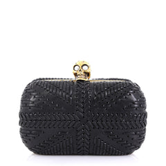 Alexander McQueen Knuckle Box Clutch Woven Leather Small 422031