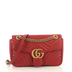Gucci GG Marmont Flap Bag Matelasse Leather Small Red 425032