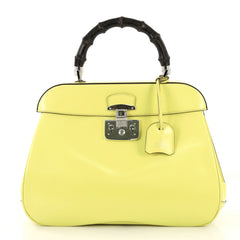 Gucci Model: Lady Lock Bamboo Top Handle Bag Leather Yellow Large  42595/38