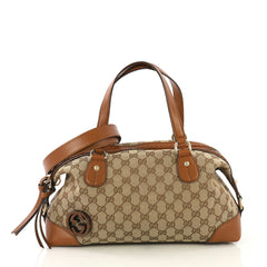 Gucci Brick Lane Convertible Boston Bag GG Canvas Medium