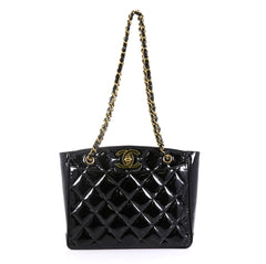 Chanel Vintage CC Lock Pocket Chain Tote Quilted Patent Medium Black 430512