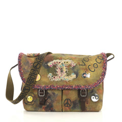 Chanel On The Pavements Graffiti Messenger Bag Canvas Large Green 4314001