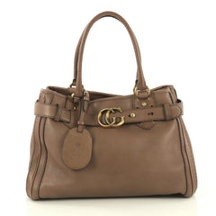 Gucci GG Running Tote Leather Medium Brown 432101
