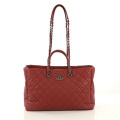 Chanel Coco Handle Shopping Tote Quilted Caviar Large Red 432672