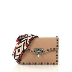 Valentino Rolling Rockstud Flip Lock Flap Bag Leather with Cabochons Small
