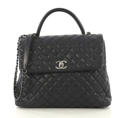 Chanel Coco Top Handle Bag Quilted Caviar Large Blue 433181