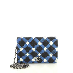 Chanel Airlines Wallet on Chain Quilted Printed Leather White 433201
