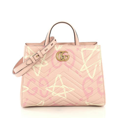 Gucci GG Marmont Tote GucciGhost Matelasse Leather Small Pink 434451