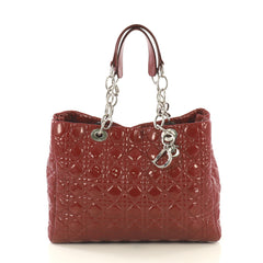 Christian Dior Soft Chain Tote Cannage Quilt Patent Large Red 434811