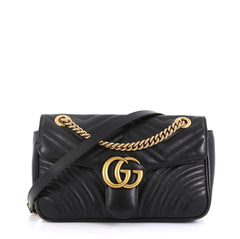 Gucci GG Marmont Flap Bag Matelasse Leather Small Black 435805