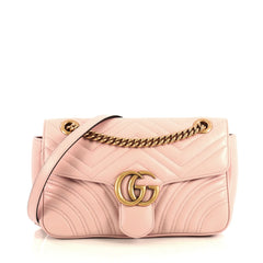 Gucci GG Marmont Flap Bag Matelasse Leather Small Pink 436511