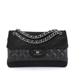 Chanel Miss Pony Double Flap Bag Quilted Aged Calfskin and Pony Hair Medium Black 43664104