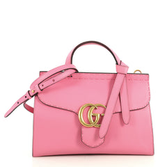 Gucci GG Marmont Top Handle Bag Leather Small Pink 4366472