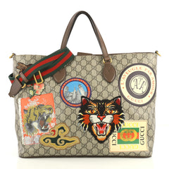 Gucci Courrier Convertible Soft Open Tote GG Coated Canvas with Applique Large Brown 4366487