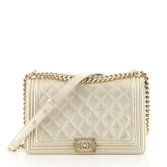 Chanel Boy Flap Bag Quilted Perforated Lambskin New Medium Metallic 436851