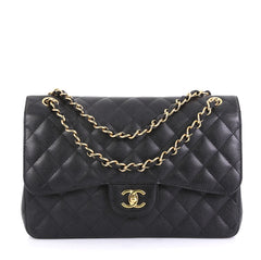 Chanel Classic Double Flap Bag Quilted Caviar Jumbo Black 437071