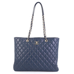Chanel Classic CC Shopping Tote Quilted Calfskin Large Blue 43727109