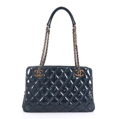 Chanel Eyelet Tote Quilted Patent Small Blue 43727125