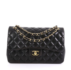 Chanel Classic Double Flap Bag Quilted Lambskin Jumbo Black 4372788