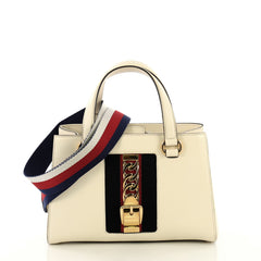 Gucci Sylvie Top Handle Tote Leather Medium White 4376110